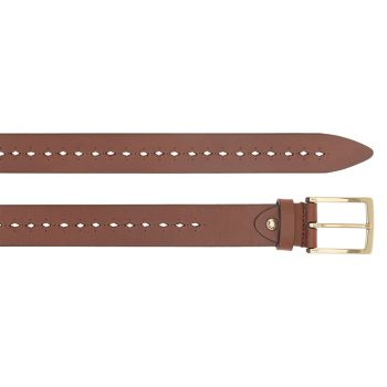 THE BRIDGE Vespucci Line – Brown Leather Belt with Golden Buckle Made in Italy
