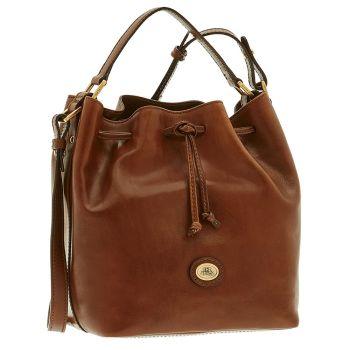 THE BRIDGE Brown Leather Woman Medium Cross-body Bucket Bag Story Line