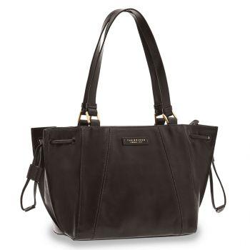 THE BRIDGE Camilla Line – Black Leather Tote Bag