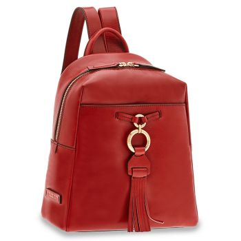 THE BRIDGE Margherita Line - Red Leather Backpack Made in Italy