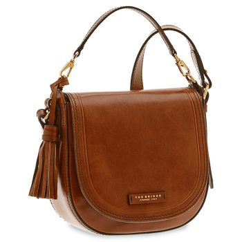 THE BRIDGE District  Line – Brown Leather Woman Medium Handbag Pearl