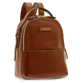 THE BRIDGE Pearl District Line - Small Brown Leather Backpack Made in Italy