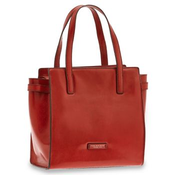 THE BRIDGE Bianca Line - Red Leather Shopping Bag Made in Italy