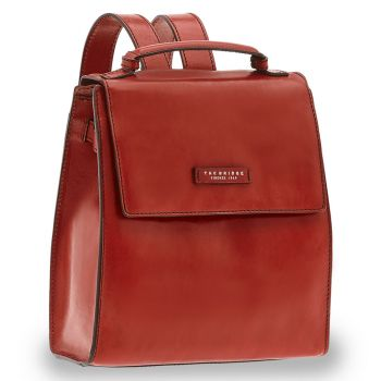 THE BRIDGE Bianca Line - Red Leather Backpack Made in Italy