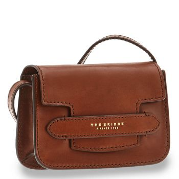THE BRIDGE Lucrezia Line - Brown Leather Crossbody Bag Made in Italy