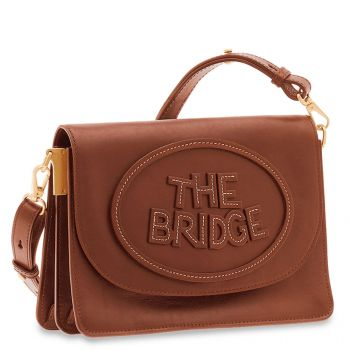 THE BRIDGE Penelope Line – Brown Leather Crossbody Bag with Flap Closure