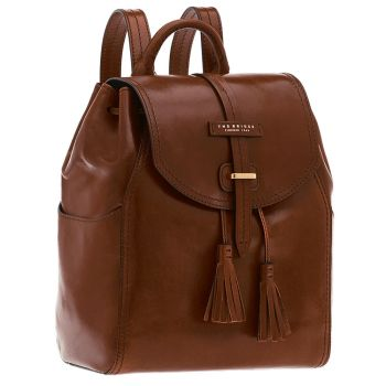 THE BRIDGE Florentin Brown Leather Backpack Made in Italy