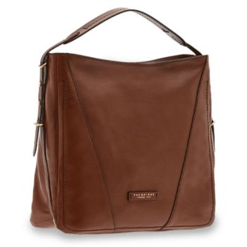 THE BRIDGE Tintori Line - Brown Leather Hobo Bag Made in Italy