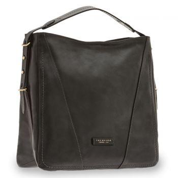 THE BRIDGE Tintori Line – Black Leather Hobo Bag