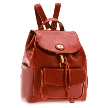 THE BRIDGE Story Line - Red Leather Backpack Made in Italy