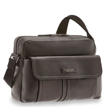 THE BRIDGE Cosimo Line - Black Leather Reporter Messenger Made in Italy