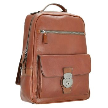 "THE BRIDGE Brown Print Leather Backpack Pc 14"" Capalbio Line Made in Italy"