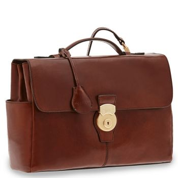 "THE BRIDGE Brown Leather Briefcase PC 13"" Capalbio Line"