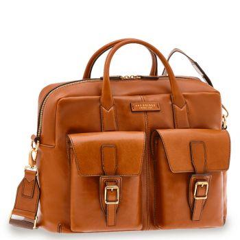 "THE BRIDGE Giannutri Line – Cognac Leather 15"" pc Bag with Shoulder Strap"