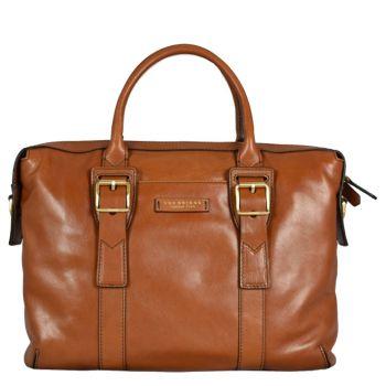 "THE BRIDGE Cognac Leather Briefcase PC 15"" Giannutri Line"