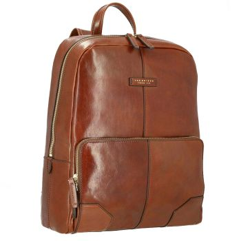 """THE BRIDGE Vespucci Line – Brown Leather Backpack Pc 15"""""""