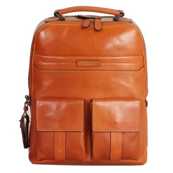THE BRIDGE Serristori Line – Cognac Leather Backpack with Pc Compartment
