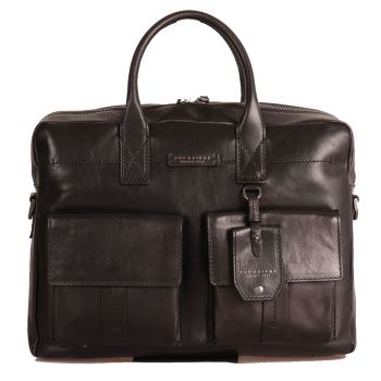 THE BRIDGE Serristori Line – Black Leather Portfolio PC Bag Made in Italy