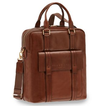 "THE BRIDGE Brown Leather Vertical Briefcase Pc 14"" Vacchereccia Line"