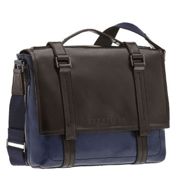 "THE BRIDGE Blue Leather Briefcase Pc 13"" Vacchereccia Line"