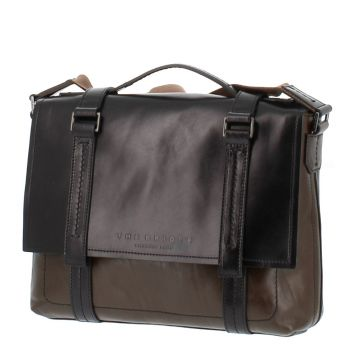 "THE BRIDGE Green Leather Briefcase Pc 13"" Vacchereccia Line Made in Italy"