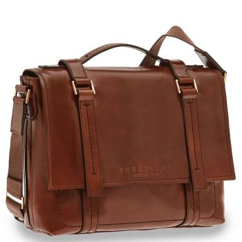 "THE BRIDGE Brown Leather Briefcase Pc 13"" Vacchereccia Line"