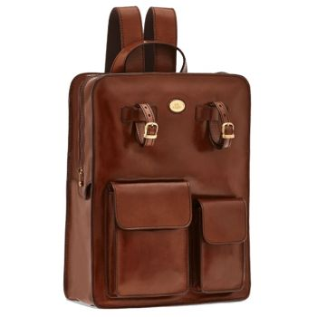 "THE BRIDGE Brown Leather Backpack Pc 13"" Story Line"