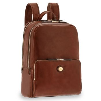 """THE BRIDGE Story Line - Double Compartment Brown Leather Backpack Pc 13"""" Made in Italy"""