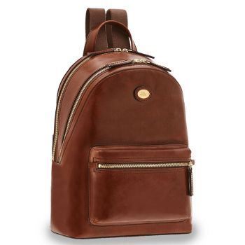"""THE BRIDGE Story Line – Brown Leather Business Backpack with 13"""" Pc Compartment"""