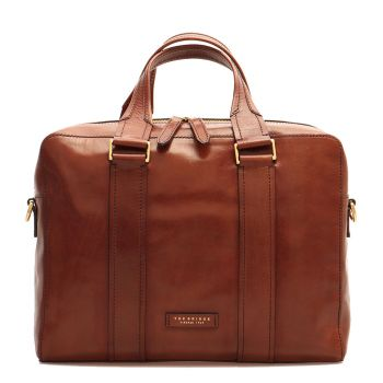 """THE BRIDGE Trebbio Line - Brown Leather Two Handle Briefcase Pc 14"""" Made in Italy"""