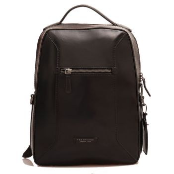 "THE BRIDGE Bufalini Line - Black Leather Laptop 15"" Backpack Made in Italy"