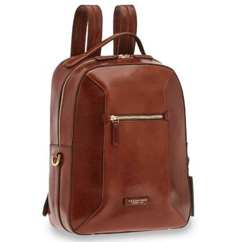 "THE BRIDGE Bufalini Line - Brown Leather Laptop 15"" Backpack Made in Italy"