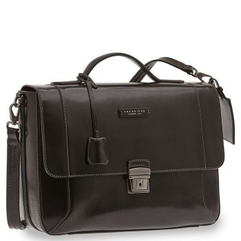 "THE BRIDGE Black Leather Briefcase Pc 14"" Bufalini Line"