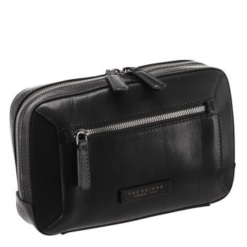 THE BRIDGE Bufalini Line - Black Leather Belt Bag Made in Italy
