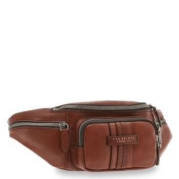 THE BRIDGE Cosimo Line - Brown Leather Belt Bag Made in Italy