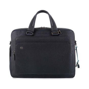 "PIQUADRO Blue Leather Portfolio With 15"" Pc and iPad Compartment CA4027B3"