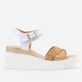 1A Classe Alviero Martini Geo Classic Line – White Leather Sandals E153