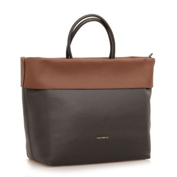 COCCINELLE 25 Line – Moka and Black Leather Handle Bag Made In Italy