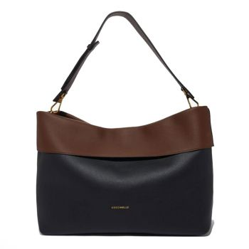 COCCINELLE 25 Line – Moka and Black Leather Shoulder Bag Made In Italy