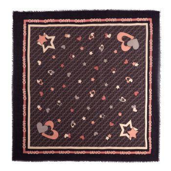 LIU JO Black All-Over Printed Hearts and Stars Foulard