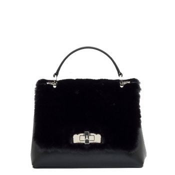 Bag with Hand Strap PATRIZIA PEPE Black Leather with Fur - 2V8502