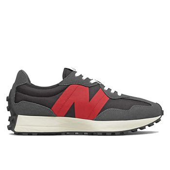 NEW BALANCE 327 Line – Magnet Black and Red Suede Nylon Sneakers for Men