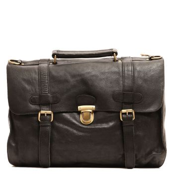 """Gianni Conti Black Leather Messanger for 15"""" pc"""