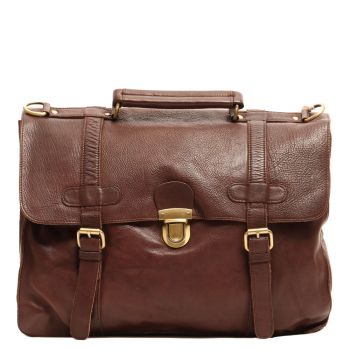 """Gianni Conti Brown Leather Messanger for 15 """" Pc"""