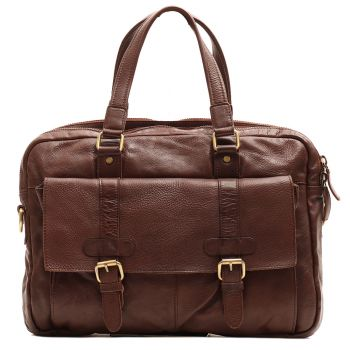 "Briefcase Man with Two Handles strap Porta Pc 15 ""- Gianni Conti Brown Leather"