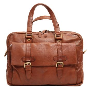 """Gianni Conti Vintage Line – Leather Messanger for 15"""" pc with Shoulder Strap"""