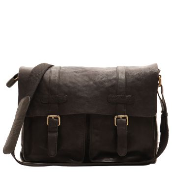 "Messenger Man Porta Pc 13 ""Black Leather - Gianni Conti Vintage line"