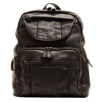 """GIANNI CONTI Vintage Line - Black Leather 13"""" Laptop Backpack"""