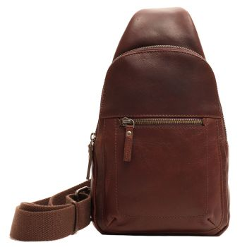 Gianni Conti Brown Leather Crossbody Bag for Men