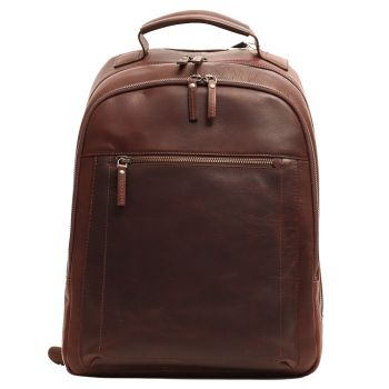 """Gianni Conti - Brown Leather 14"""" Laptop Backpack"""